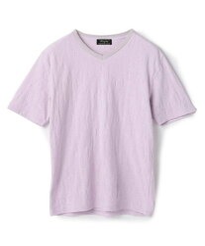 【SALE/50%OFF】MEN'S BIGI リーフジャガード 半袖VネックTシャツ メンズ ビギ カットソー Tシャツ パープル ホワイト ネイビー ブラック