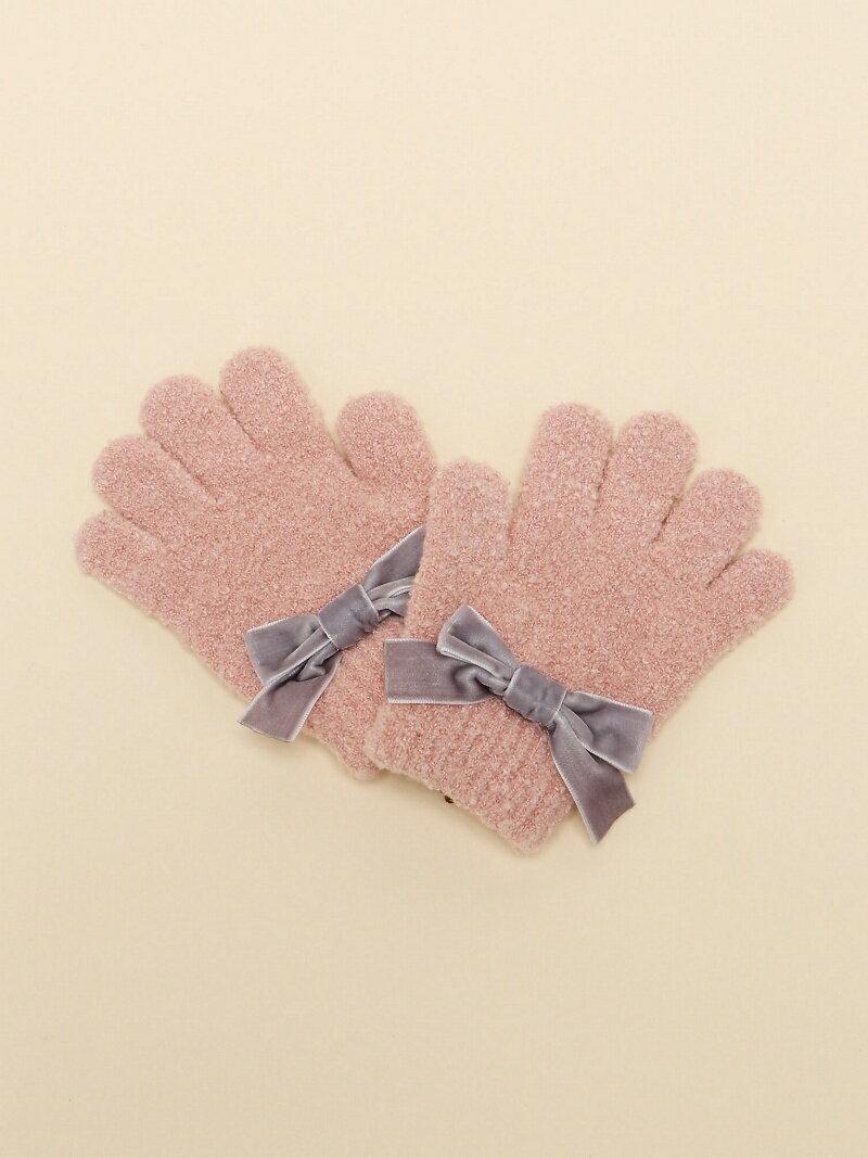 petit main ベロアリボン付き手袋 プティマイン ファッショングッズ