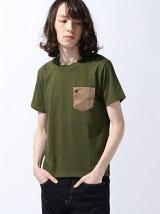 (M)NAVAL Select/スタッズスウェードポケット付クルー半袖