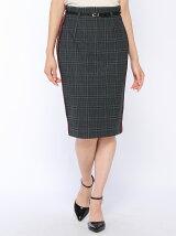 グレンチェックラインタイトスカート