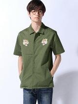 (M)ZIP FIVE ストレッチツイル刺繍半袖コーチシャツ