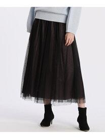 ef-de 《Maglie par ef-de》チュールスカート エフデ スカート プリーツスカート/ギャザースカート ブラック ブラウン【送料無料】