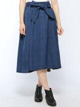BROWNY STANDARD/(L)デニムリボンイレヘムミディスカート