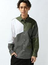 【WEGO】【BROWNY STANDARD】(M)イージーケアパッチワークシャツ