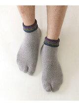Tabio MEN/(M)メンズ折返し波柄足袋パイルショートソックス