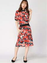 (W)Washed Silk Aquarelle Floral Tee Dress