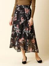 【秋の新作】《INED》フラワーシースルースカート