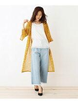 フラワープリントガウン×裾レースTシャツセット