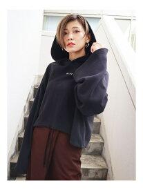 EMODA ワイドスリーブロゴフーディ エモダ カットソー パーカー ブラック ブルー ブラウン【送料無料】