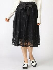 【SALE/28%OFF】axes femme (W)リボンブーケレーススカート アクシーズファム スカート プリーツスカート/ギャザースカート ブラック ホワイト ピンク【送料無料】