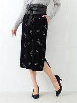 【予約】ビーミング by ビームス / ベロア刺繍スカート 17AW BEAMS