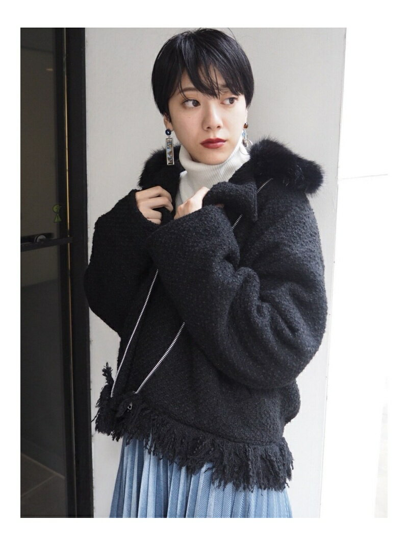 MURUA ツイードライダースブルゾン ムルーア コート/ジャケット【送料無料】