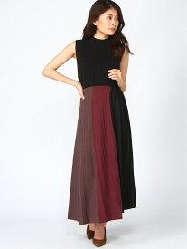 rienda Color Block Pleat Knit OP リエンダ ワンピース ノースリーブワンピース ブラック ネイビー ホワイト【送料無料】