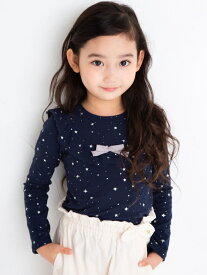 SLAP SLIP ヨークフリル リボン 星 無地 長袖 Tシャツ (80cm~130cm) ベベ オンライン ストア カットソー Tシャツ ネイビー ホワイト ブラック