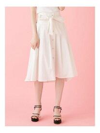 【SALE/20%OFF】dazzlin リボンベルトミディフレアスカート ダズリン スカート フレアスカート ホワイト ネイビー【送料無料】