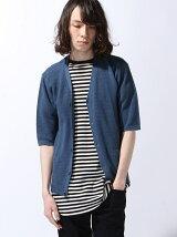 (M)NAVAL Select/引き上げ編み5分袖カーディガン