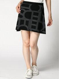 Descente golf (W)タイポグラフィモチーフニットスカート デサントゴルフ スカート ミニスカート ブラック ホワイト【送料無料】