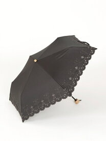 【SALE/50%OFF】Afternoon Tea カットフラワー刺繍晴雨兼用折りたたみ傘 日傘 アフタヌーンティー・リビング ファッショングッズ ファッショングッズその他 ブラック イエロー ネイビー