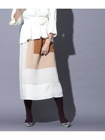 【SALE/50%OFF】ROPE' 【LALIGNE(直線シリーズ)】【セットアップ対応】ハンマーサテングラデスカート ロペ スカート スカートその他 ブラウン ネイビー【送料無料】