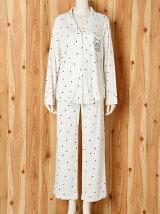 星柄猫刺繍シャツパジャマ/ルームウエア