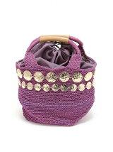 ゴールドモチーフ編みバッグ