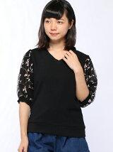 C・袖チュール刺繍V/N TOPS 7分袖