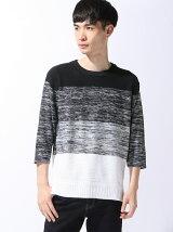 【BROWNY】(M)グラデーションニット7分袖Tシャツ