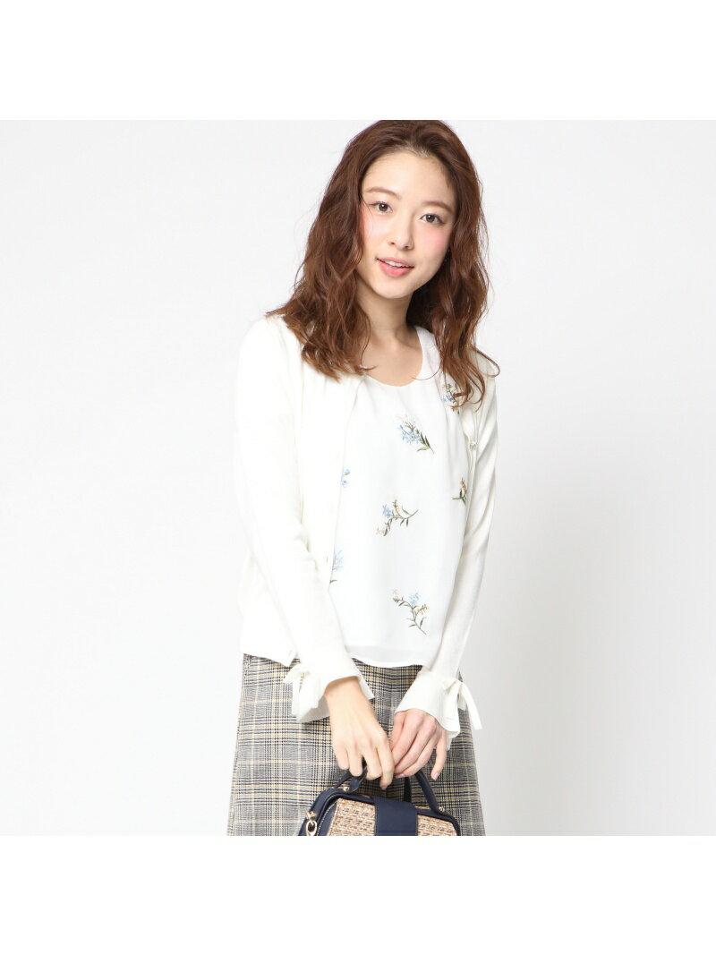 QUEENS COURT 袖口フリル刺繍ブラウスアンサンブル クイーンズコート【送料無料】