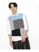 パターンパッチワーク 7分袖シャツ