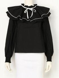 titty&Co. ダブルフリルブラウス ティティー アンド コー シャツ/ブラウス 長袖シャツ ブラック ホワイト【送料無料】