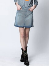 (W)JUICY DENIM BLUE SKIRT SIDE SILVER FOIL