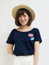 40/2ワッペン付きVネックTシャツ