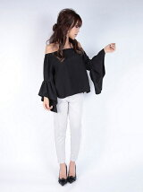 off shoulder flare sleeve blouse