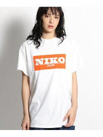 niko and... (W)NKJ/BOXロゴTシャツ ニコアンド カットソー Tシャツ ホワイト