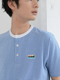【SALE/70%OFF】coen SUNNYSPORTS(サニースポーツ)別注USAコットンヘンリーネックボーダーTシャツ コーエン カットソー Tシャツ ブルー ベージュ