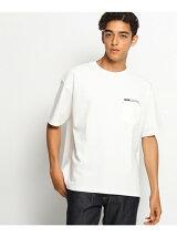 【ビッグシルエット】胸ロゴ刺繍 デニムポケットTシャツ