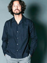 CTN BROAD DOT PRINT OPEN COLLAR SHIRTS L/S