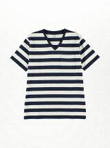 オーガニックコットン太ボーダーVネックTシャツ