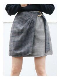 【SALE/63%OFF】dazzlin チェックラップミニスカート ダズリン スカート ミニスカート グレー イエロー ブラウン
