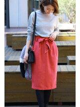 スウェードリボンタイトスカート