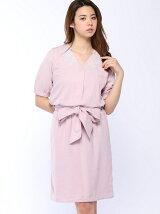 衿刺繍とろみワンピース