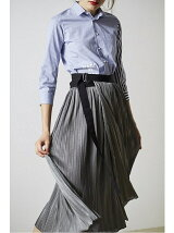 metallic jerseypleats wrap skirt