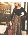 Noela フロッキーチュールスカート ノエラ スカート ロングスカート ブラック ベージュ グリーン【送料無料】