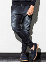 裾ファスナー付カモフラージュ柄ジョグデニムパンツ