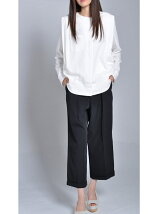 Two-Tuck Wide Cropped Pants