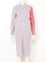 typewriter stripebias shirt dress