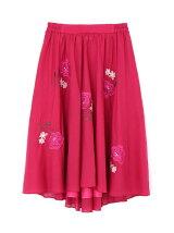 ビッグフラワー刺繍スカート