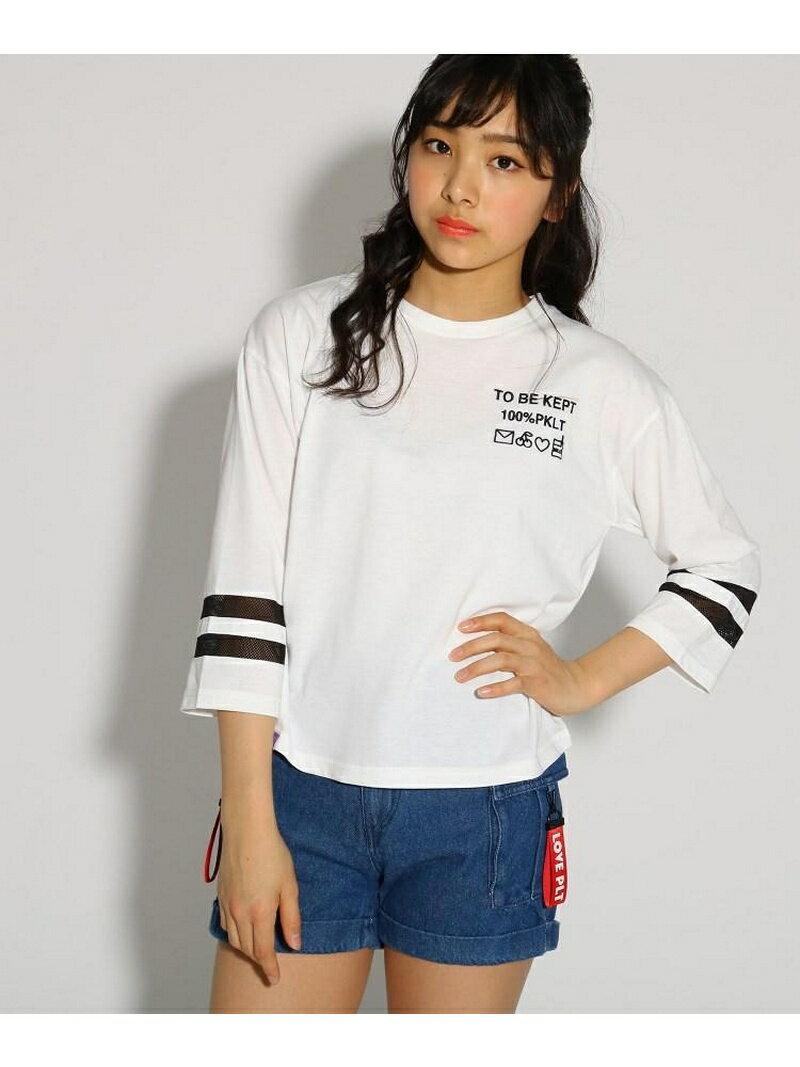PINK-latte 袖ラインロゴ7分袖 トップス ピンク ラテ カットソー