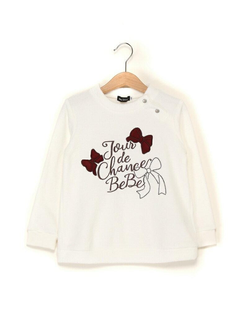 【SALE/50%OFF】BeBe ロゴ+リボン刺繍ロングトップス ベベ オンライン ストア カットソー【RBA_S】【RBA_E】