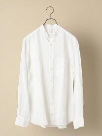 【SALE/40%OFF】SHIPS DC:【MONTI社製生地】バンドカラーリネンホワイトシャツ シップス シャツ/ブラウス 長袖シャツ ホワイト【送料無料】